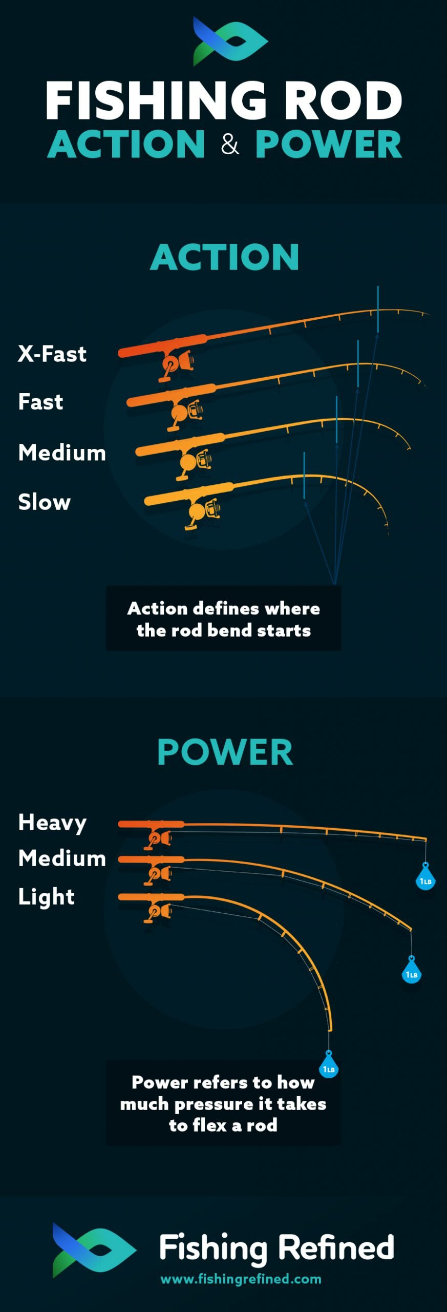 Action and Power Fishing Rod Infographic