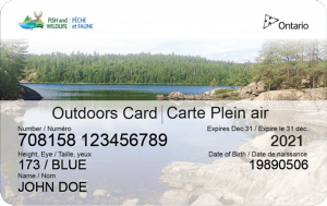 Canadian fishing license outdoors card