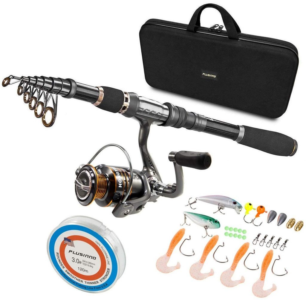 PLUSINNO Telescopic Fishing Rod and Reel Combos