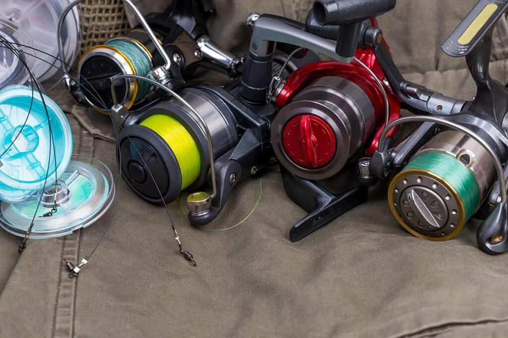 ishing reels with line different colors
