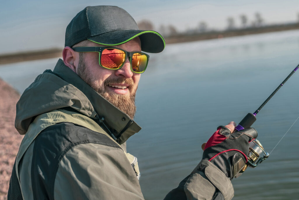 man wearing polarized sunglasses for fishing