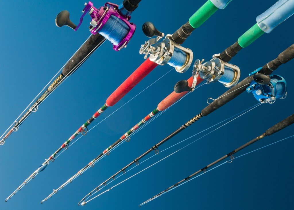 Close-up of saltwater baitcasting reels
