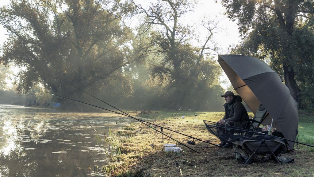 Man fishing on a sunny morning