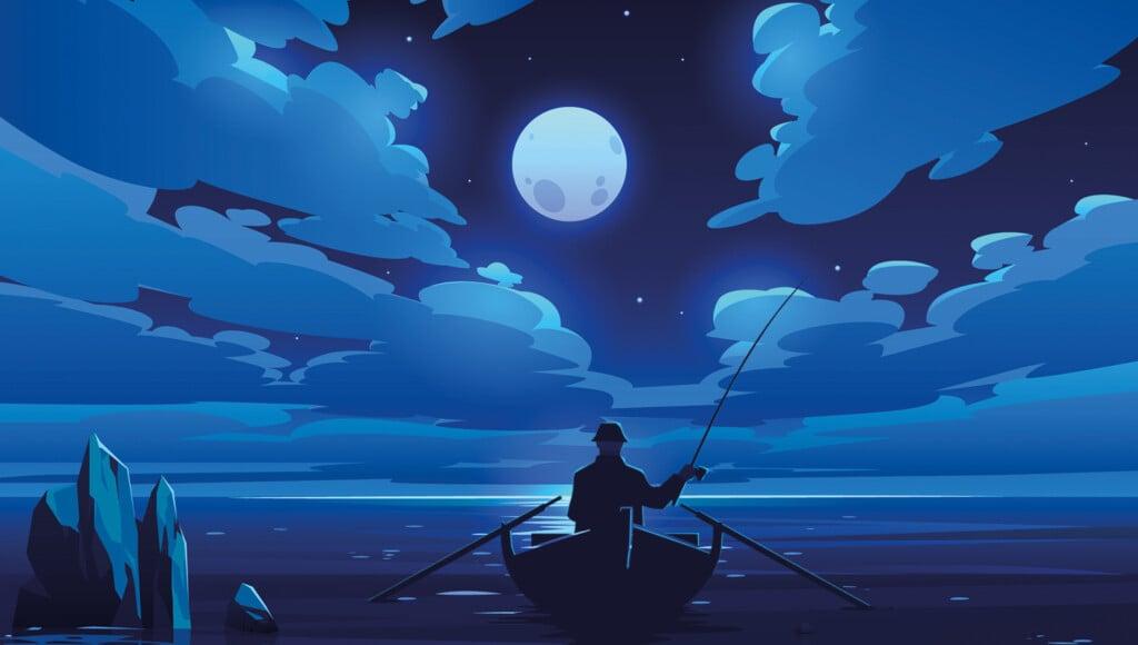 man in fishing boat during full moon illustration